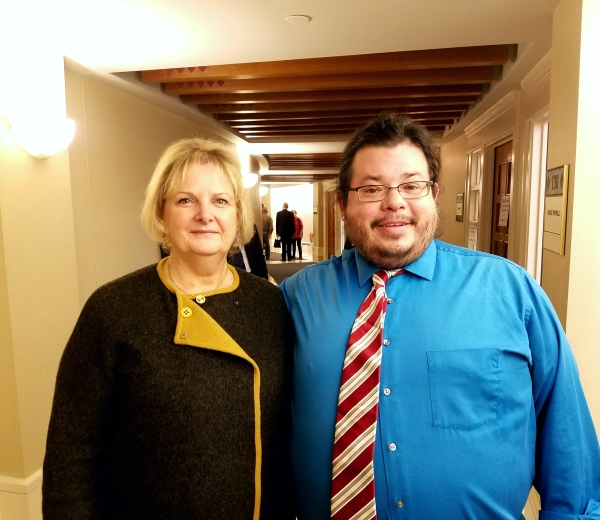 New Mexico State Representative and Health Committee Chair Deborah A. Armstrong meets with Team Up Cancer Founder Rico Dence