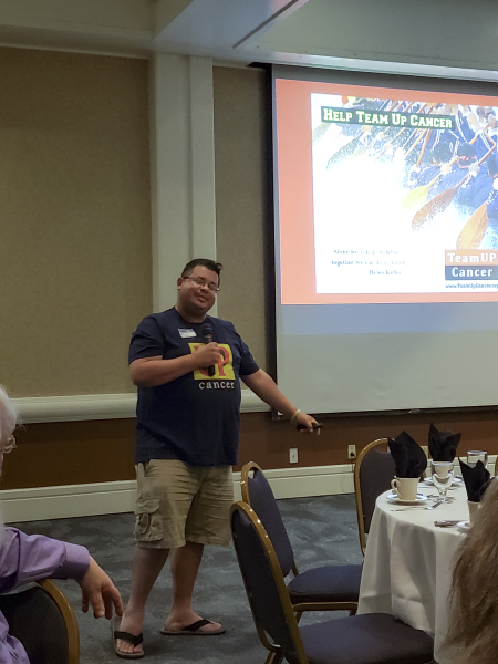 Rico Dence Founder of Team Up Cancer speaks at Olympia Washington Rotary