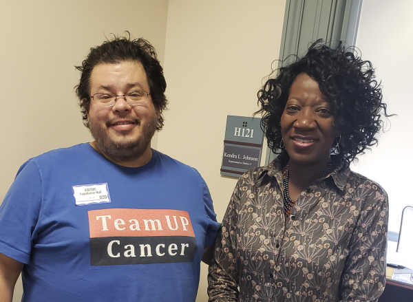 Delaware State Representative Kendra Johnson has meeting with Rico Dence Founder of Team Up Cancer