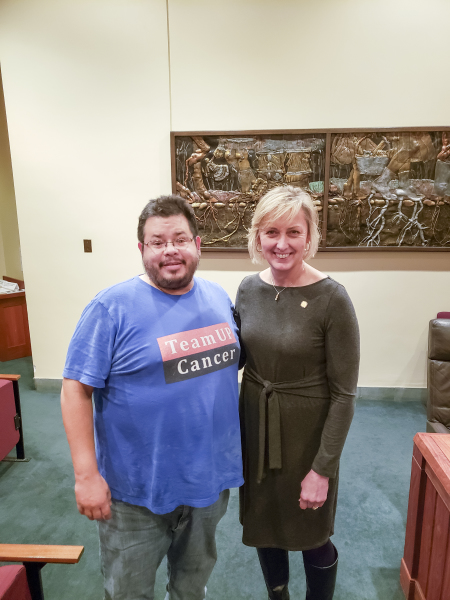 Nebraska State Senator Lynne Walzhas meeting with Rico Dence Founder of Team Up Cancer